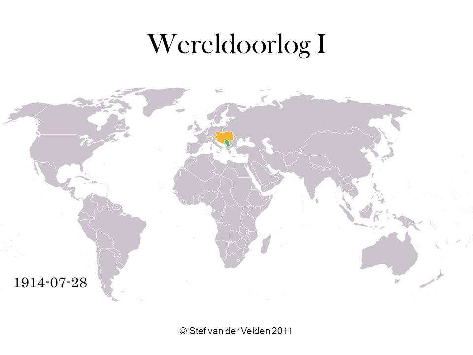 © Stef van der Velden 2011 Uitleg kaart donker groen = Geallieerden licht groen = Geallieerde kolonies, heerschappijen, gebieden of bezet gebied donker oranje = Centralen licht oranje = Centrale kolonies of bezette gebieden grijs = neutraal