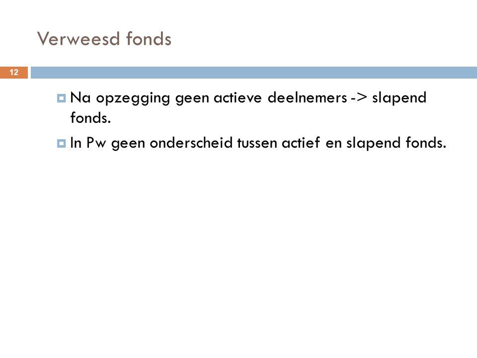 Verweesd fonds  Na opzegging geen actieve deelnemers -> slapend fonds.  In Pw geen onderscheid tussen actief en slapend fonds. 12