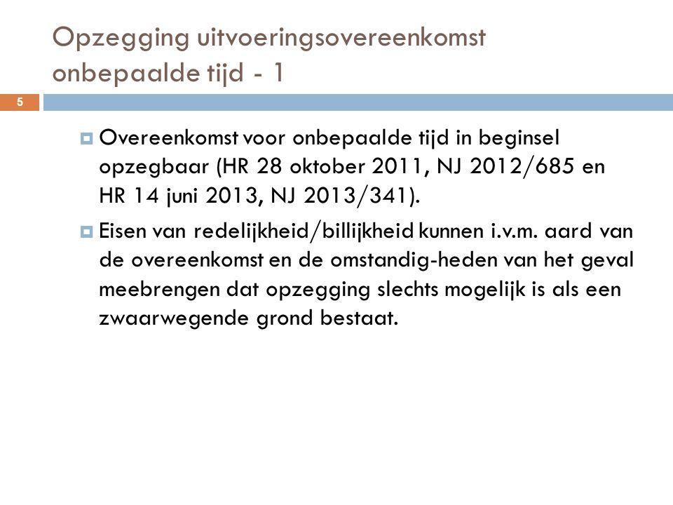 Opzegging uitvoeringsovereenkomst onbepaalde tijd - 1  Overeenkomst voor onbepaalde tijd in beginsel opzegbaar (HR 28 oktober 2011, NJ 2012/685 en HR
