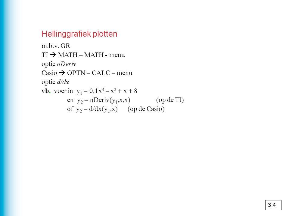 Hellinggrafiek plotten m.b.v. GR TI  MATH – MATH - menu optie nDeriv Casio  OPTN – CALC – menu optie d/dx vb. voer in y 1 = 0,1x 4 – x 2 + x + 8 en