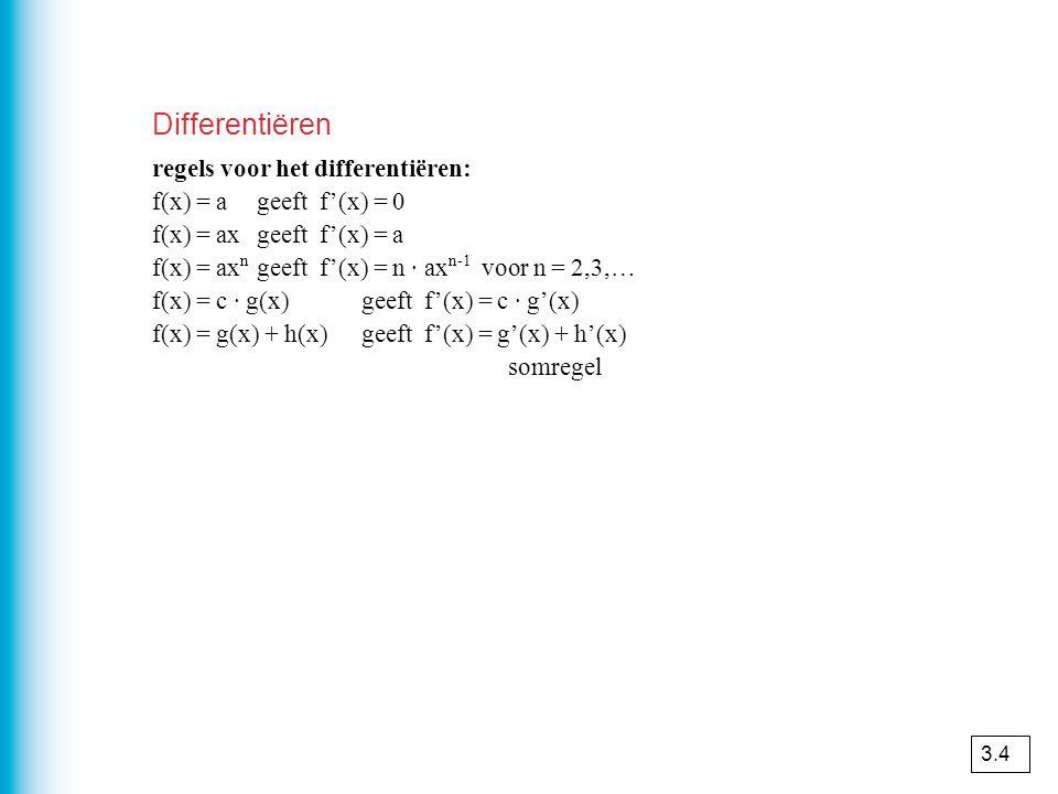 Differentiëren regels voor het differentiëren: f(x) = ageeft f'(x) = 0 f(x) = axgeeft f'(x) = a f(x) = ax n geeft f'(x) = n · ax n-1 voor n = 2,3,… f(
