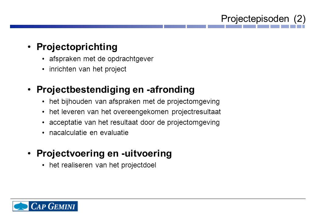 Projectepisoden (2) Projectoprichting afspraken met de opdrachtgever inrichten van het project Projectbestendiging en -afronding het bijhouden van afs