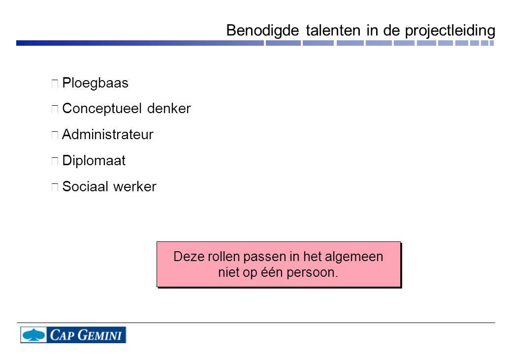 • Ploegbaas • Conceptueel denker • Administrateur • Diplomaat • Sociaal werker Deze rollen passen in het algemeen niet op één persoon.
