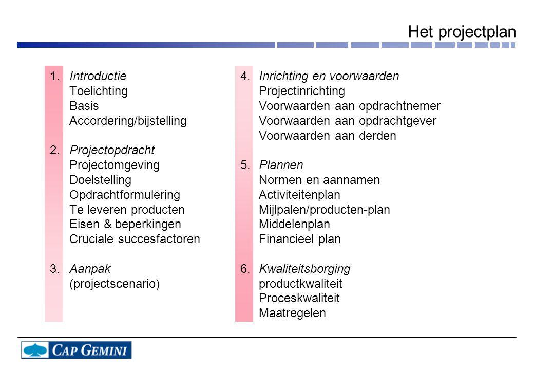 Introductie Toelichting Basis Accordering/bijstelling Projectopdracht Projectomgeving Doelstelling Opdrachtformulering Te leveren producten Eisen & be