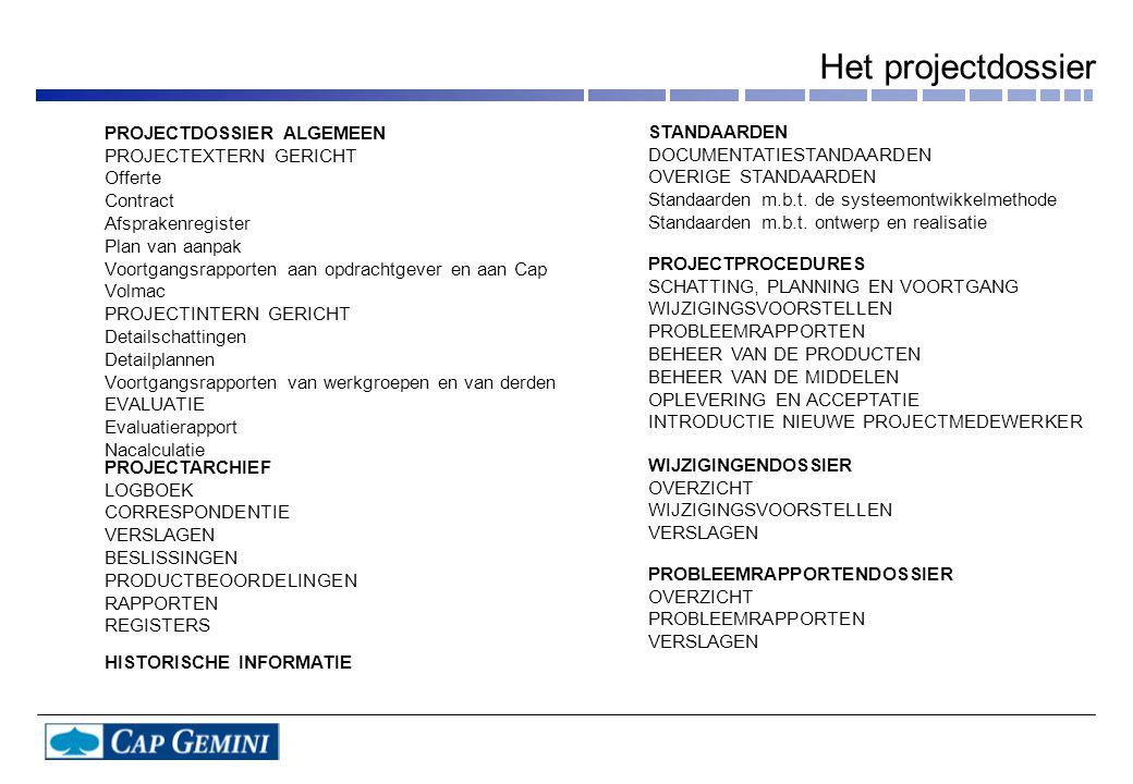 PROJECTDOSSIER ALGEMEEN PROJECTEXTERN GERICHT Offerte Contract Afsprakenregister Plan van aanpak Voortgangsrapporten aan opdrachtgever en aan Cap Volmac PROJECTINTERN GERICHT Detailschattingen Detailplannen Voortgangsrapporten van werkgroepen en van derden EVALUATIE Evaluatierapport Nacalculatie PROJECTARCHIEF LOGBOEK CORRESPONDENTIE VERSLAGEN BESLISSINGEN PRODUCTBEOORDELINGEN RAPPORTEN REGISTERS HISTORISCHE INFORMATIE STANDAARDEN DOCUMENTATIESTANDAARDEN OVERIGE STANDAARDEN Standaarden m.b.t.