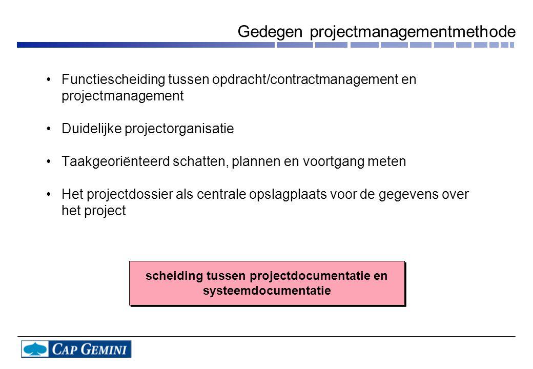 Functiescheiding tussen opdracht/contractmanagement en projectmanagement Duidelijke projectorganisatie Taakgeoriënteerd schatten, plannen en voortgang