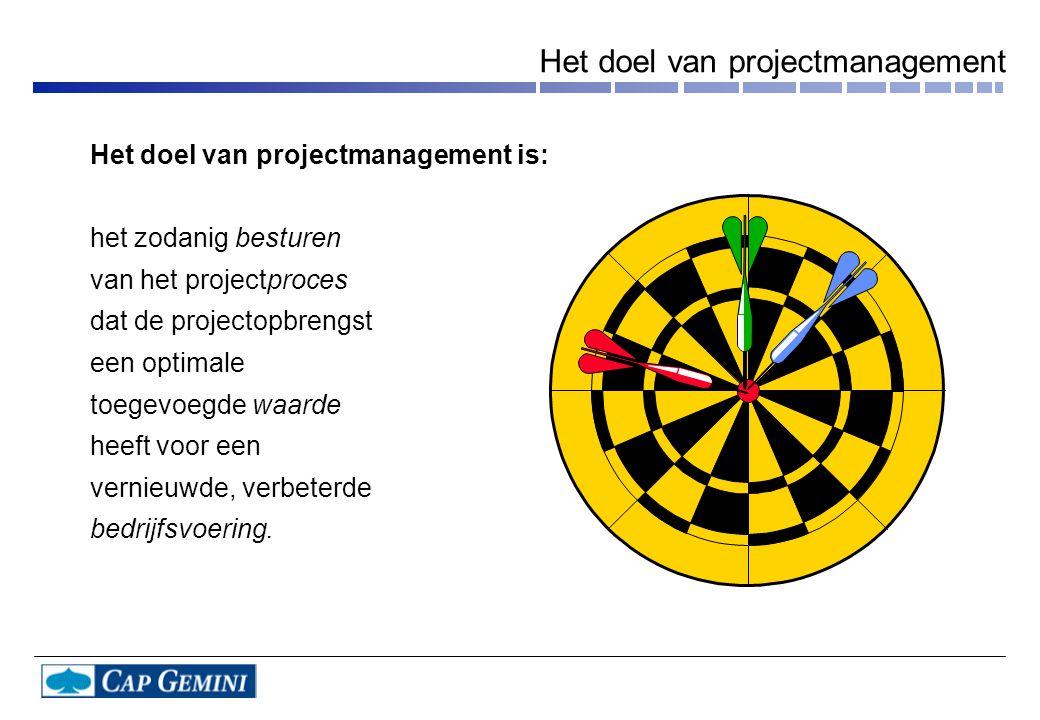 Het doel van projectmanagement is: het zodanig besturen van het projectproces dat de projectopbrengst een optimale toegevoegde waarde heeft voor een vernieuwde, verbeterde bedrijfsvoering.