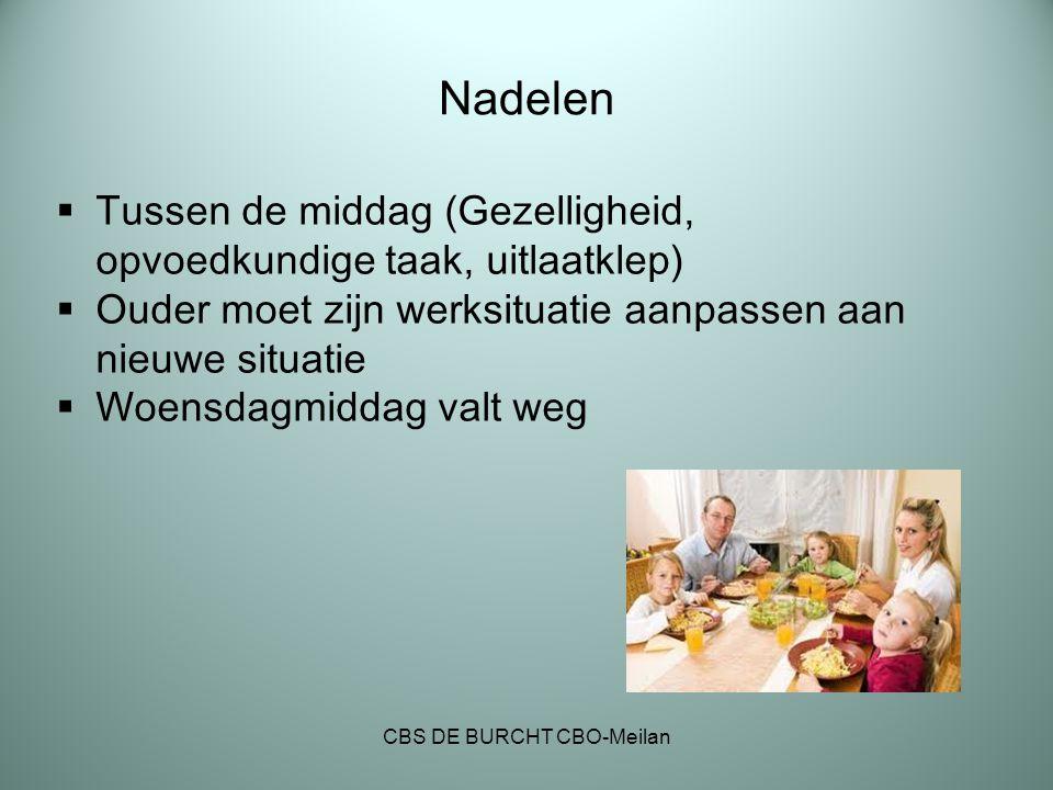 Nadelen  Tussen de middag (Gezelligheid, opvoedkundige taak, uitlaatklep)  Ouder moet zijn werksituatie aanpassen aan nieuwe situatie  Woensdagmidd