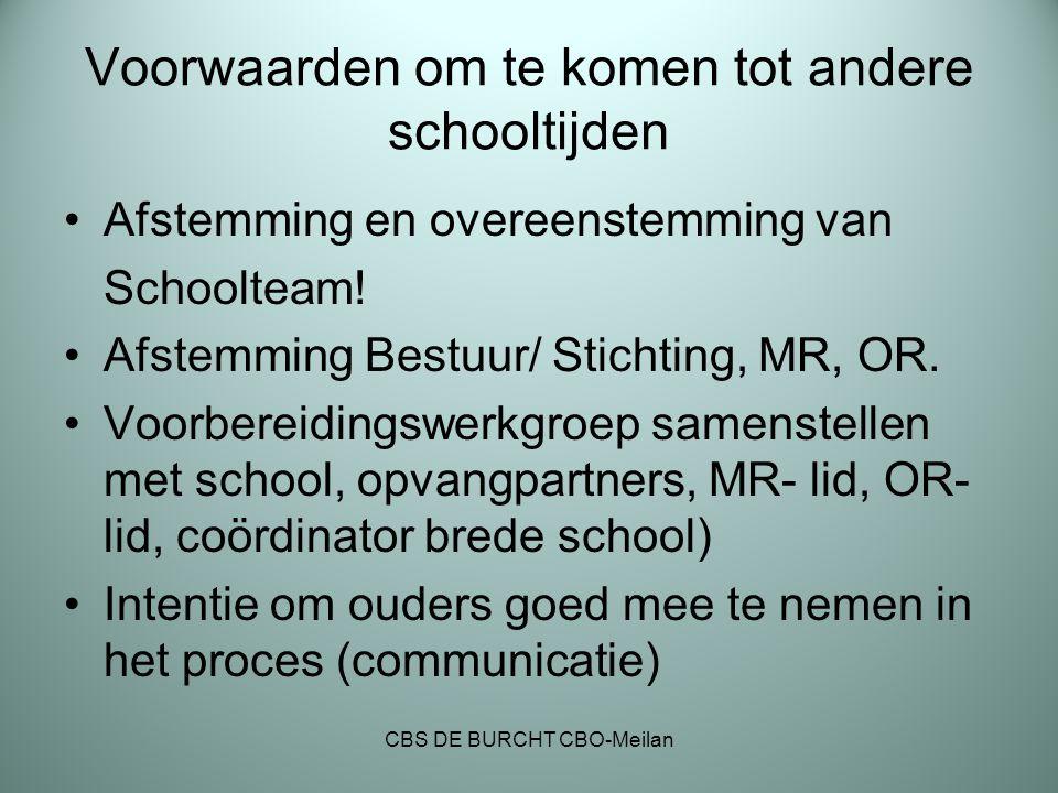Voorwaarden om te komen tot andere schooltijden Afstemming en overeenstemming van Schoolteam! Afstemming Bestuur/ Stichting, MR, OR. Voorbereidingswer