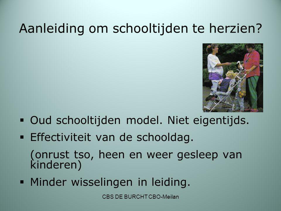 Aanleiding om schooltijden te herzien?  Oud schooltijden model. Niet eigentijds.  Effectiviteit van de schooldag. (onrust tso, heen en weer gesleep