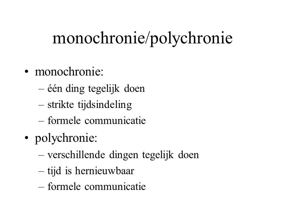 monochronie/polychronie monochronie: –één ding tegelijk doen –strikte tijdsindeling –formele communicatie polychronie: –verschillende dingen tegelijk