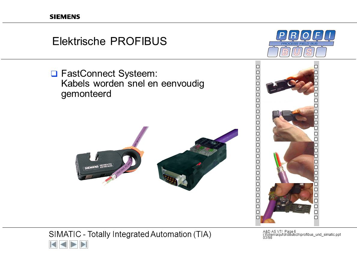 20 SIMATIC - Totally Integrated Automation (TIA) A&D AS V7/ Page 6 i:\folien\aqufol\deutsch\profibus_und_simatic.ppt 03/98 Elektrische PROFIBUS  FastConnect Systeem: Kabels worden snel en eenvoudig gemonteerd