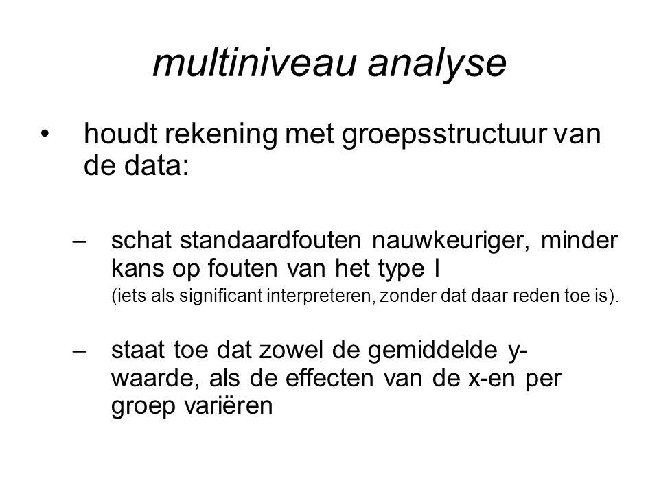 multiniveau analyse houdt rekening met groepsstructuur van de data: –schat standaardfouten nauwkeuriger, minder kans op fouten van het type I (iets al