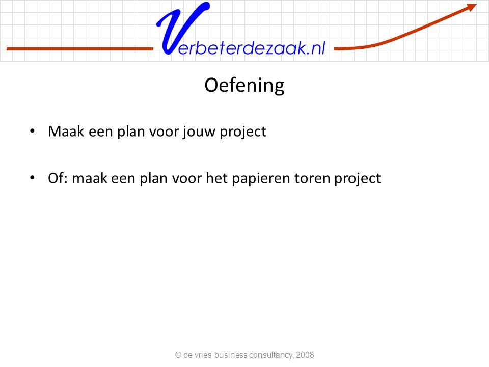 erbeterdezaak.nl Oefening Maak een plan voor jouw project Of: maak een plan voor het papieren toren project © de vries business consultancy, 2008