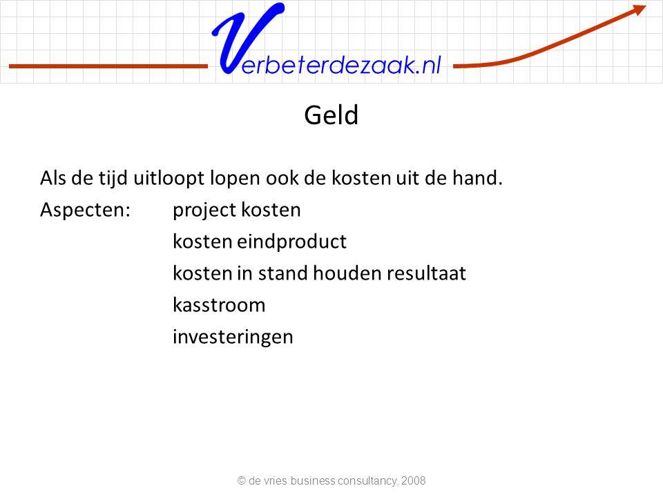 erbeterdezaak.nl Geld Als de tijd uitloopt lopen ook de kosten uit de hand.