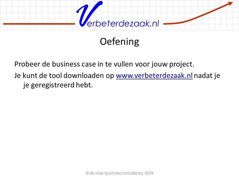 erbeterdezaak.nl Oefening Probeer de business case in te vullen voor jouw project.