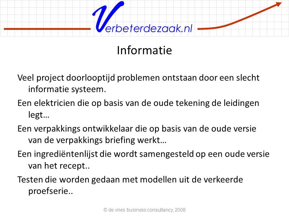 erbeterdezaak.nl Informatie Veel project doorlooptijd problemen ontstaan door een slecht informatie systeem.