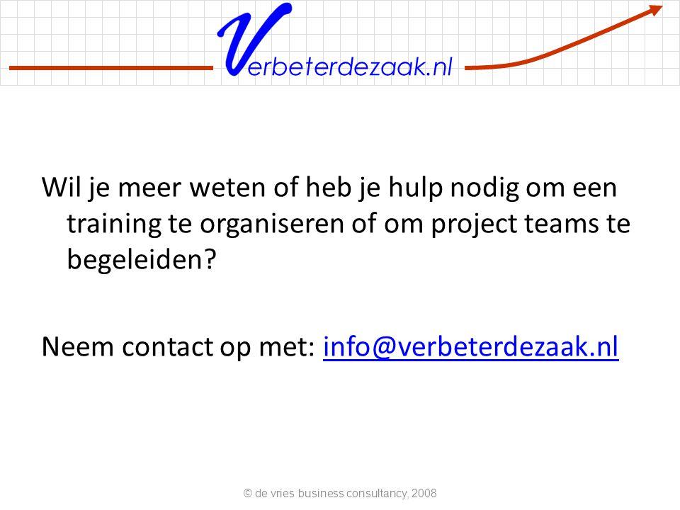 erbeterdezaak.nl Wil je meer weten of heb je hulp nodig om een training te organiseren of om project teams te begeleiden.