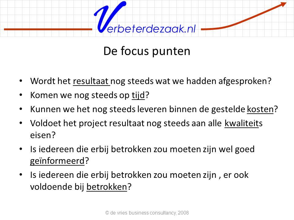 erbeterdezaak.nl Fasering © de vries business consultancy, 2008 b tijd invloed Beslissings vrijheid beheersbaarheid Basisregel voor projectbeheersing: bezint eer gij begint.