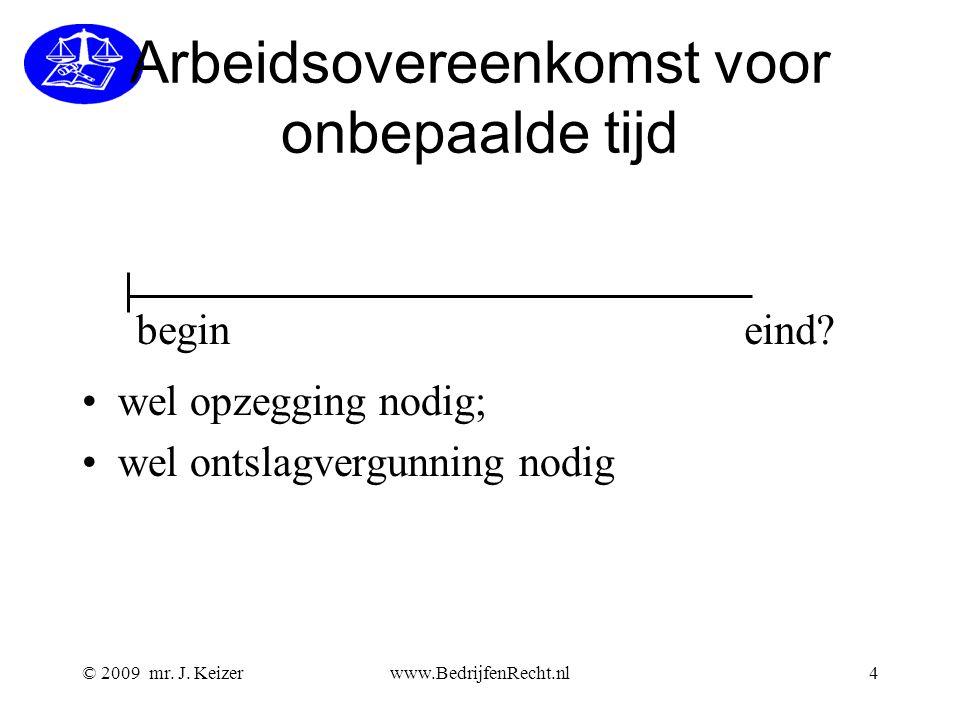 © 2009 mr. J. Keizerwww.BedrijfenRecht.nl4 Arbeidsovereenkomst voor onbepaalde tijd begineind? wel opzegging nodig; wel ontslagvergunning nodig