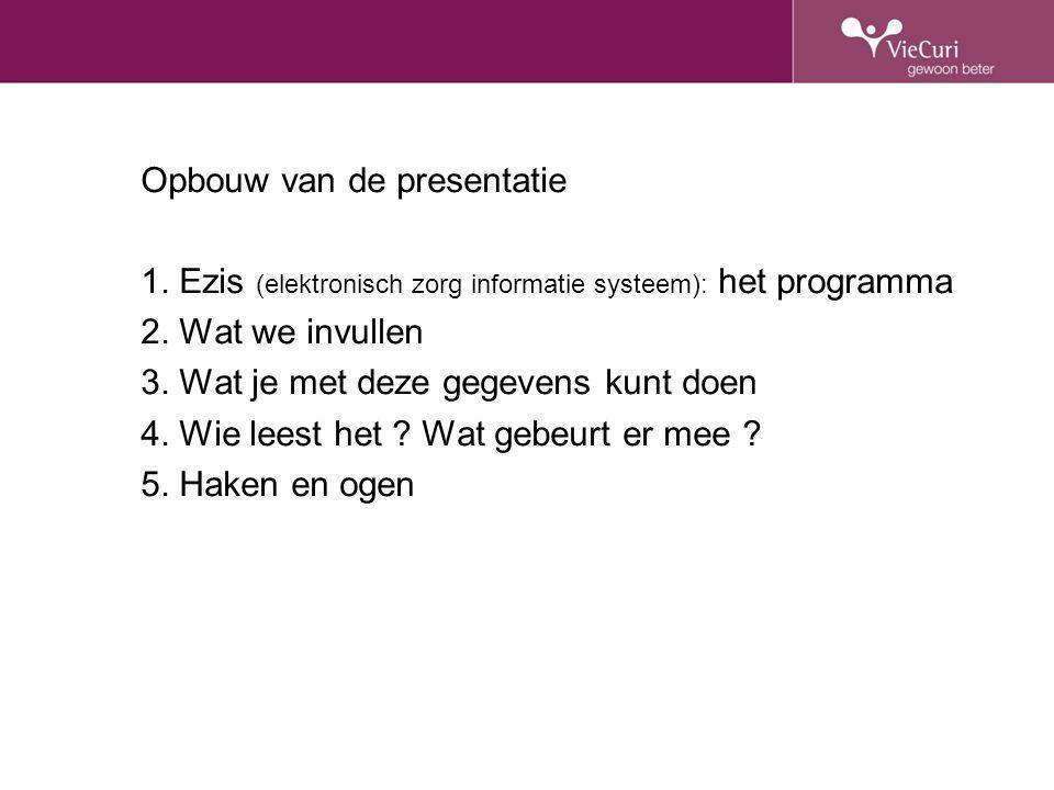 Opbouw van de presentatie 1. Ezis (elektronisch zorg informatie systeem): het programma 2. Wat we invullen 3. Wat je met deze gegevens kunt doen 4. Wi