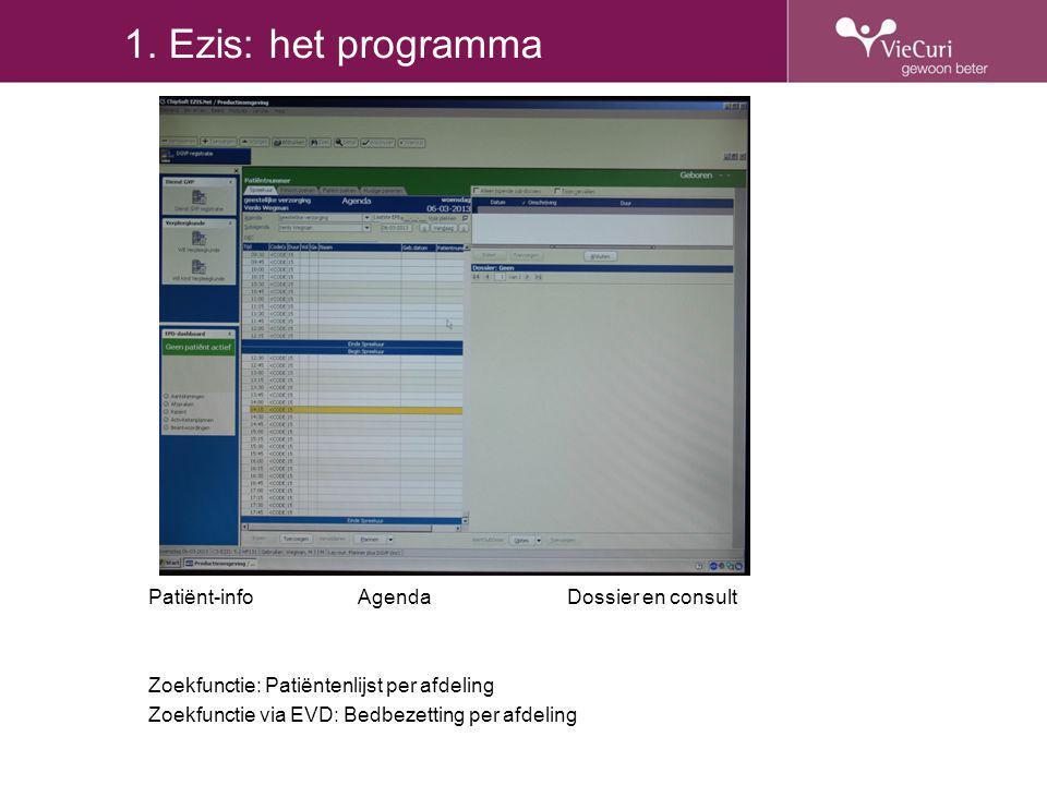 1. Ezis: het programma Patiënt-infoAgendaDossier en consult Zoekfunctie: Patiëntenlijst per afdeling Zoekfunctie via EVD: Bedbezetting per afdeling