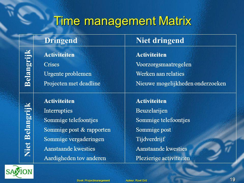 18 Boek: Projectmanagement Auteur: Roel Grit Time management tips  Begin de dag met opstellen van actielijst  kost 10 minuten  puntsgewijs in agend