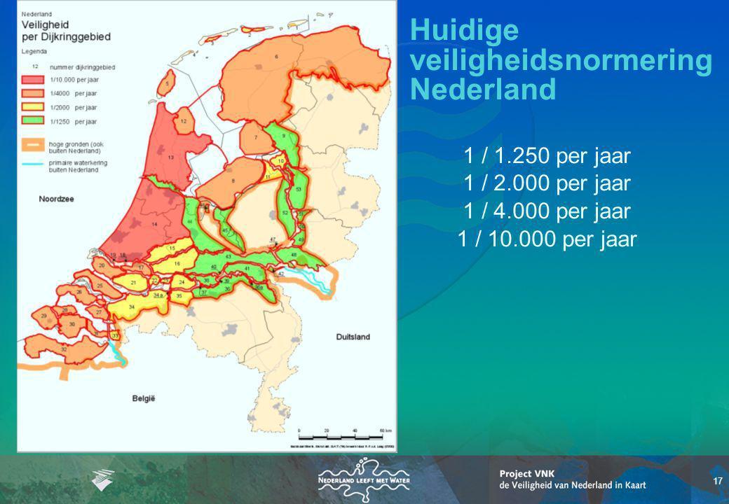 17 Huidige veiligheidsnormering Nederland 1 / 1.250 per jaar 1 / 2.000 per jaar 1 / 4.000 per jaar 1 / 10.000 per jaar