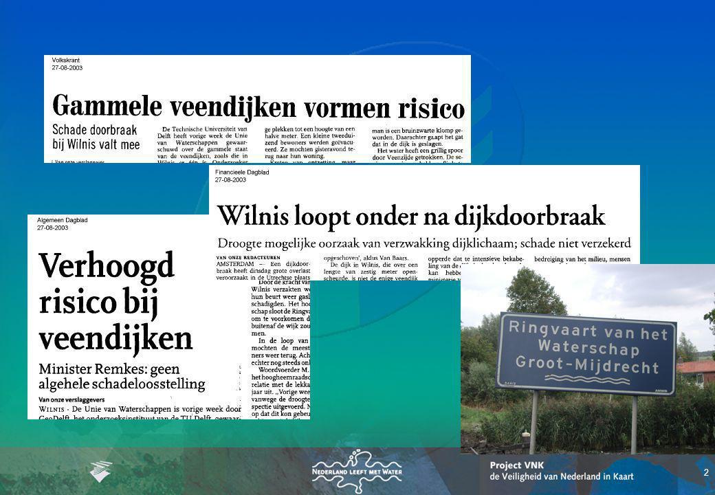 33 Inhoud presentatie Terug in de tijd … Principe van de overstromingsrisicobenadering Project VNK: De Veiligheid van Nederland in Kaart Uitstap: –studie Overstromingsrisico's t.o.v.