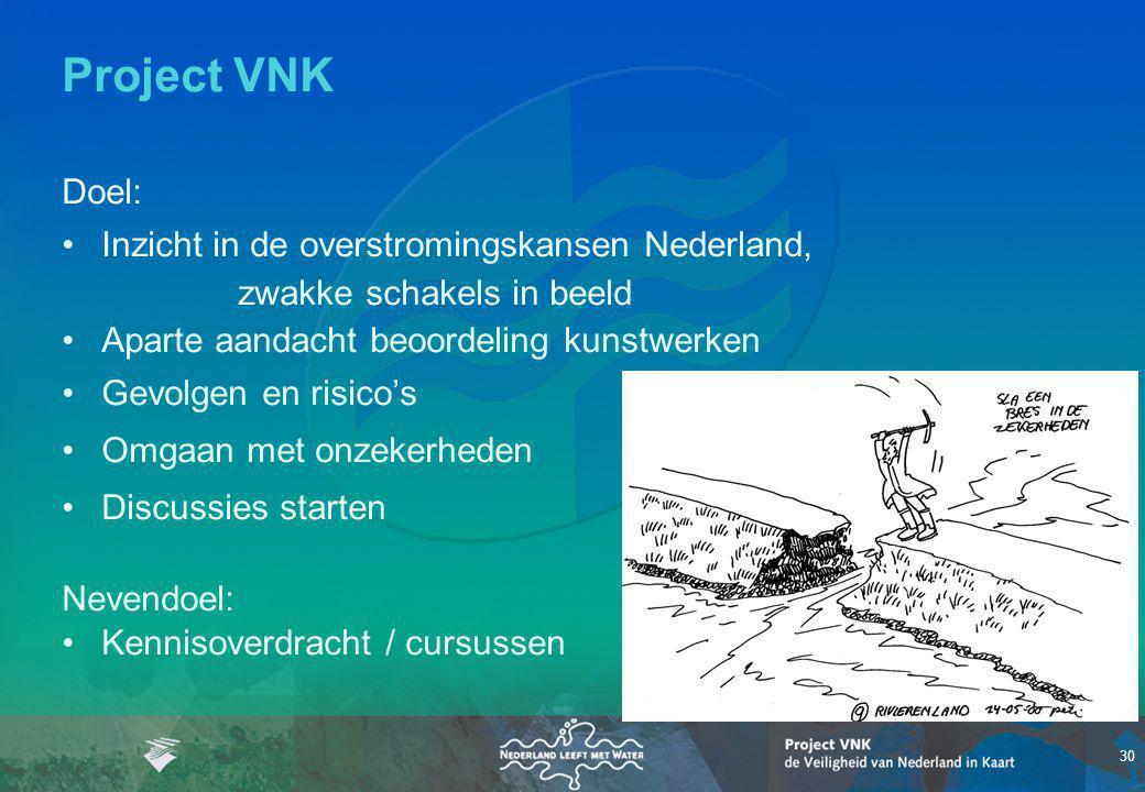 30 Project VNK Doel: Inzicht in de overstromingskansen Nederland, zwakke schakels in beeld Aparte aandacht beoordeling kunstwerken Gevolgen en risico'