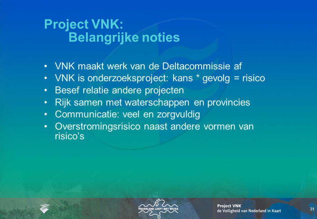 31 Project VNK: Belangrijke noties VNK maakt werk van de Deltacommissie af VNK is onderzoeksproject: kans * gevolg = risico Besef relatie andere proje