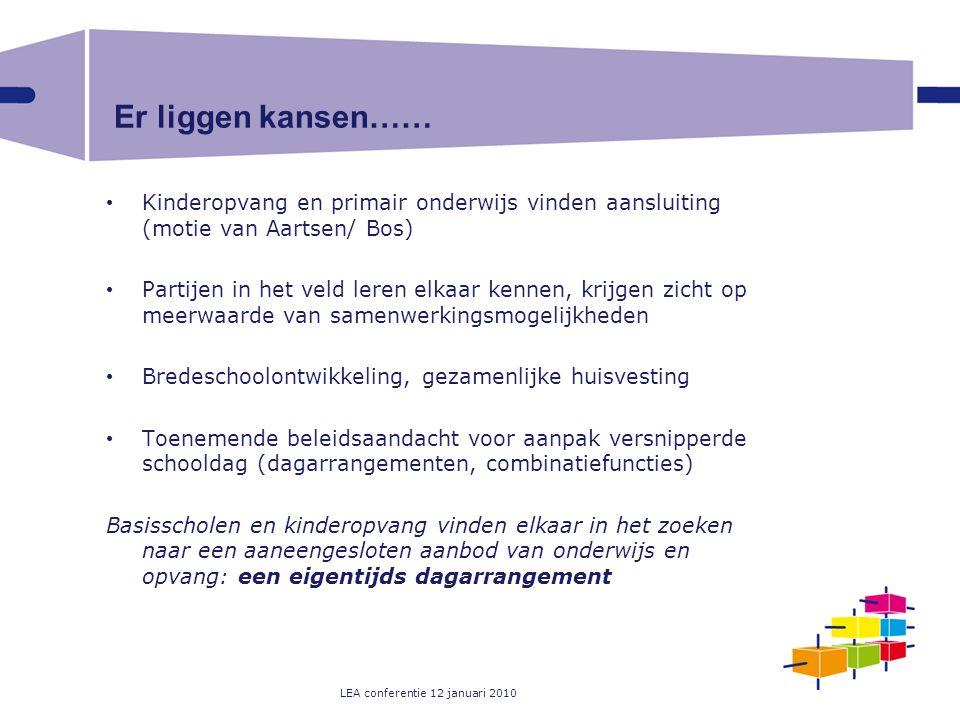 LEA conferentie 12 januari 2010 Er liggen kansen…… Kinderopvang en primair onderwijs vinden aansluiting (motie van Aartsen/ Bos) Partijen in het veld