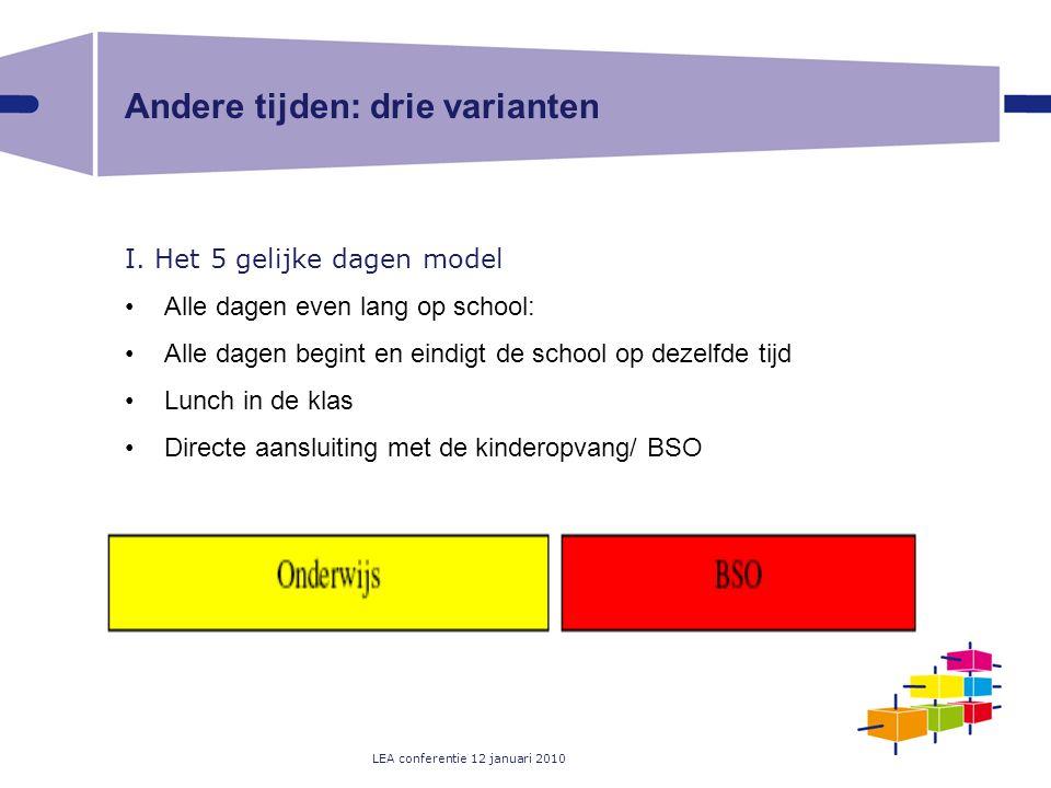 LEA conferentie 12 januari 2010 Andere tijden: drie varianten I. Het 5 gelijke dagen model Alle dagen even lang op school: Alle dagen begint en eindig
