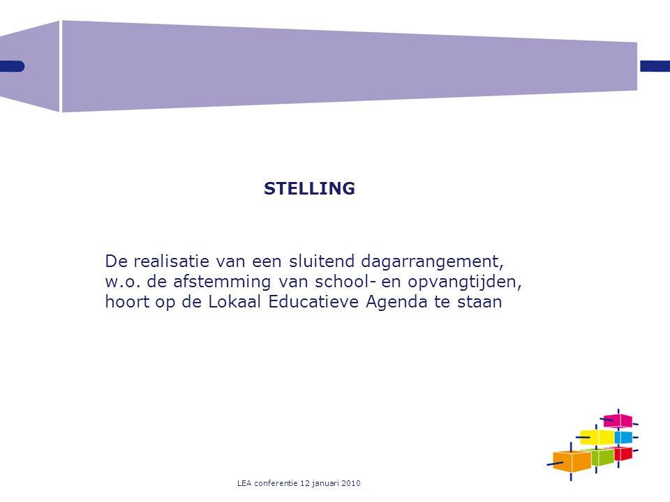 LEA conferentie 12 januari 2010 STELLING De realisatie van een sluitend dagarrangement, w.o. de afstemming van school- en opvangtijden, hoort op de Lo