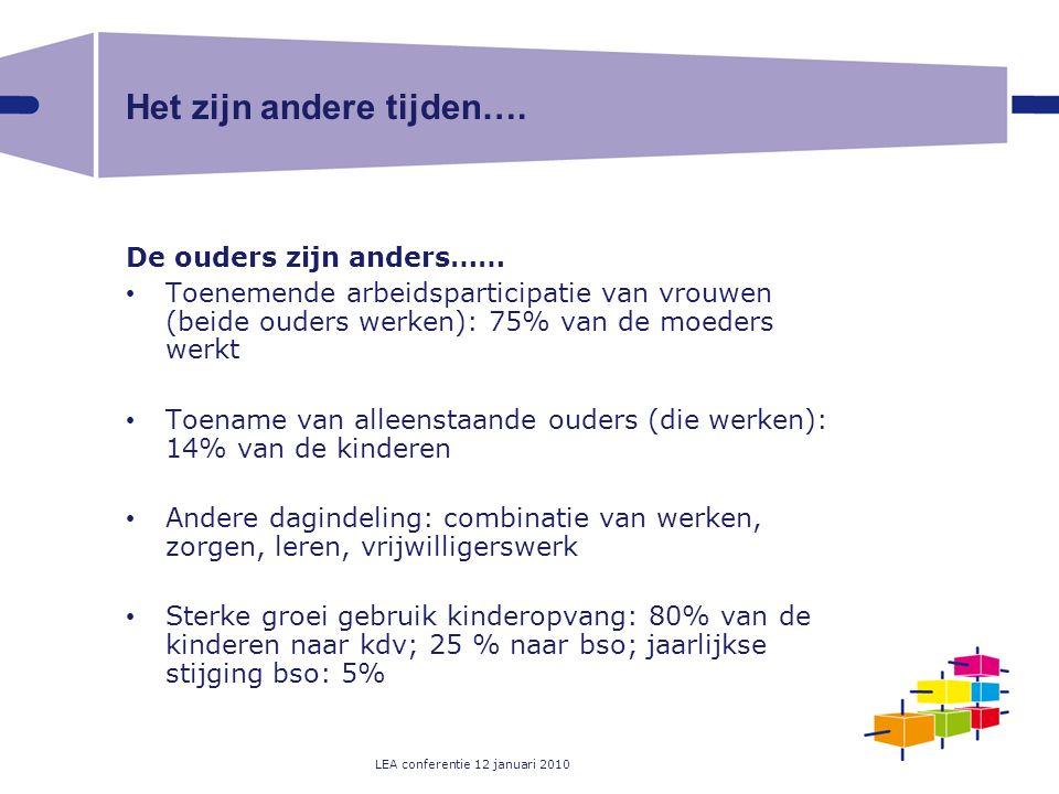 LEA conferentie 12 januari 2010 Het zijn andere tijden…. De ouders zijn anders…… Toenemende arbeidsparticipatie van vrouwen (beide ouders werken): 75%