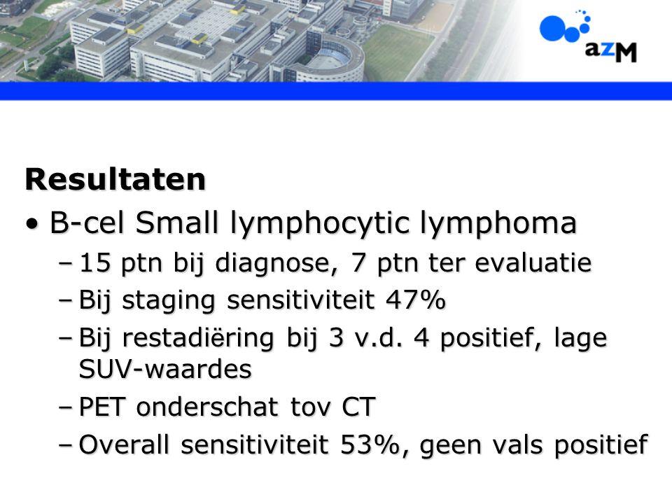 Resultaten B-cel Small lymphocytic lymphomaB-cel Small lymphocytic lymphoma –15 ptn bij diagnose, 7 ptn ter evaluatie –Bij staging sensitiviteit 47% –