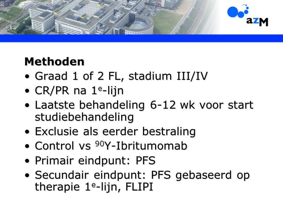 Methoden Graad 1 of 2 FL, stadium III/IVGraad 1 of 2 FL, stadium III/IV CR/PR na 1 e -lijnCR/PR na 1 e -lijn Laatste behandeling 6-12 wk voor start st