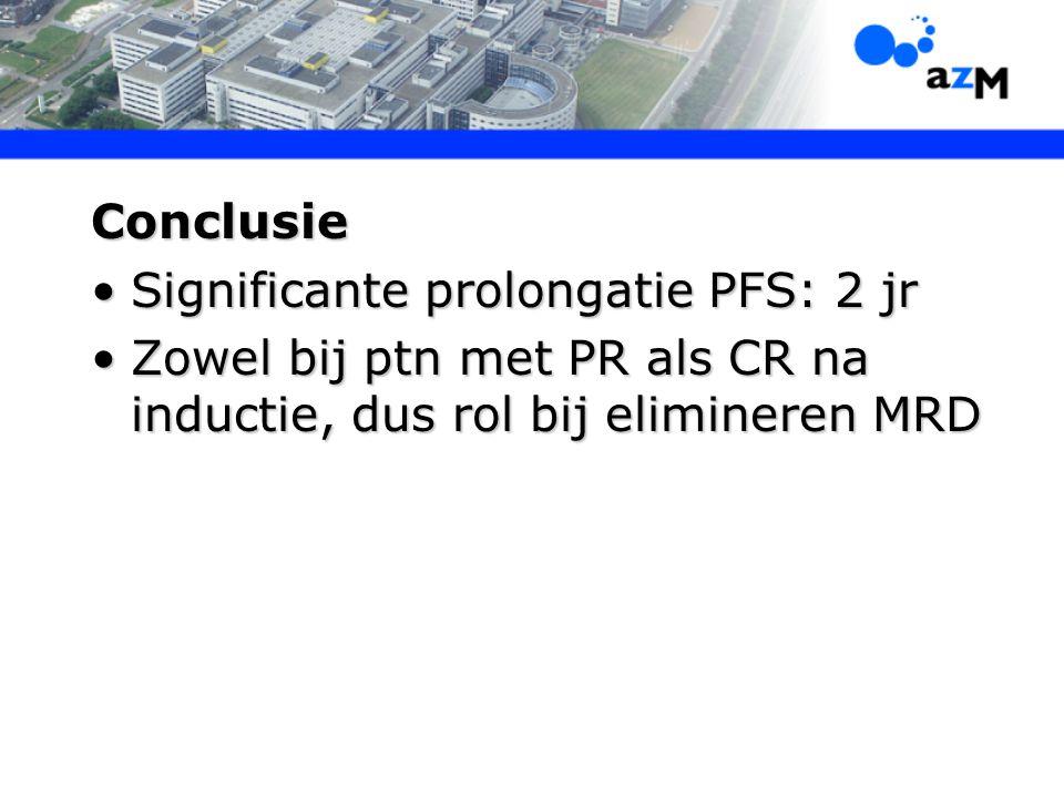 Conclusie Significante prolongatie PFS: 2 jrSignificante prolongatie PFS: 2 jr Zowel bij ptn met PR als CR na inductie, dus rol bij elimineren MRDZowe