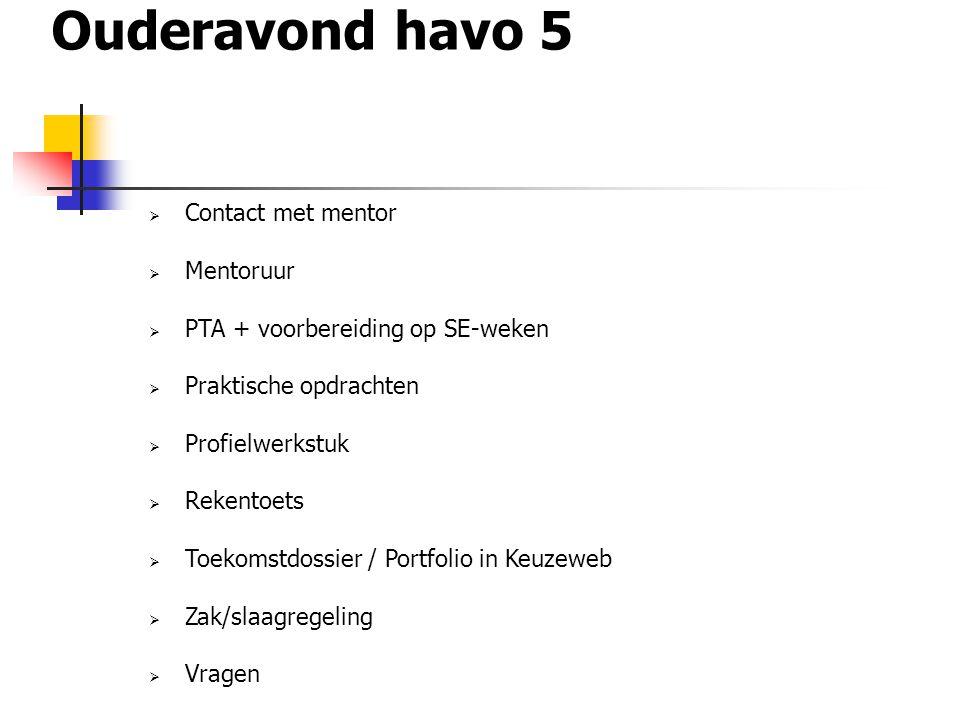 Ouderavond havo 5  Contact met mentor  Mentoruur  PTA + voorbereiding op SE-weken  Praktische opdrachten  Profielwerkstuk  Rekentoets  Toekomst