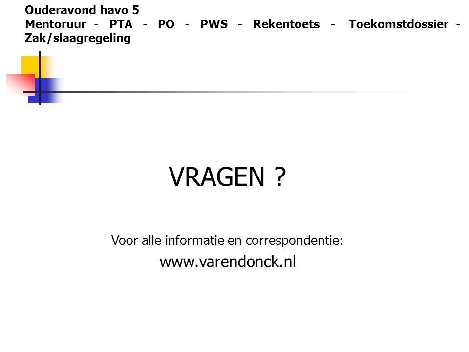 VRAGEN ? Voor alle informatie en correspondentie: www.varendonck.nl Ouderavond havo 5 Mentoruur - PTA - PO - PWS - Rekentoets - Toekomstdossier - Zak/