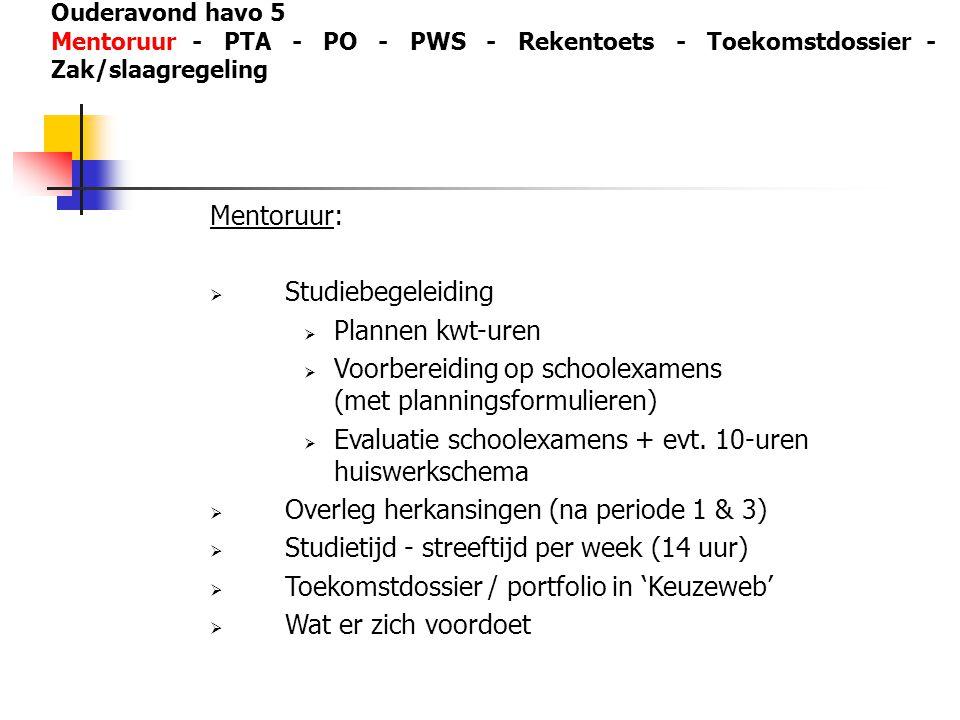 Ouderavond havo 5 Mentoruur - PTA - PO - PWS - Rekentoets - Toekomstdossier - Zak/slaagregeling Mentoruur:  Studiebegeleiding  Plannen kwt-uren  Vo