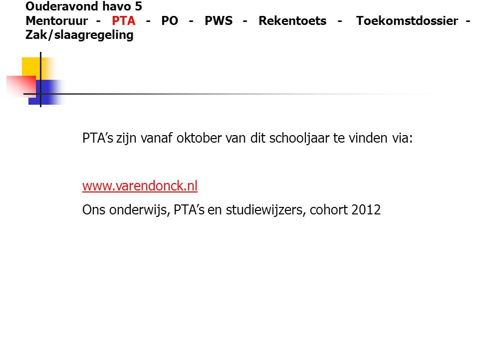 PTA's zijn vanaf oktober van dit schooljaar te vinden via: www.varendonck.nl Ons onderwijs, PTA's en studiewijzers, cohort 2012 Ouderavond havo 5 Ment