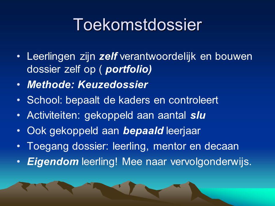Toekomstdossier Leerlingen zijn zelf verantwoordelijk en bouwen dossier zelf op ( portfolio) Methode: Keuzedossier School: bepaalt de kaders en contro
