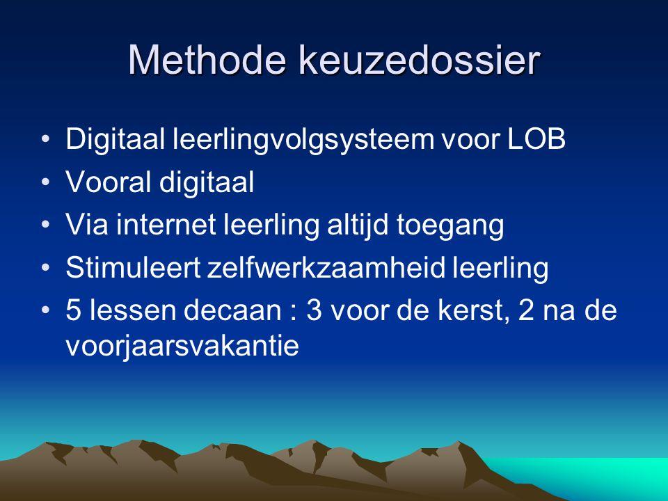 Methode keuzedossier Digitaal leerlingvolgsysteem voor LOB Vooral digitaal Via internet leerling altijd toegang Stimuleert zelfwerkzaamheid leerling 5