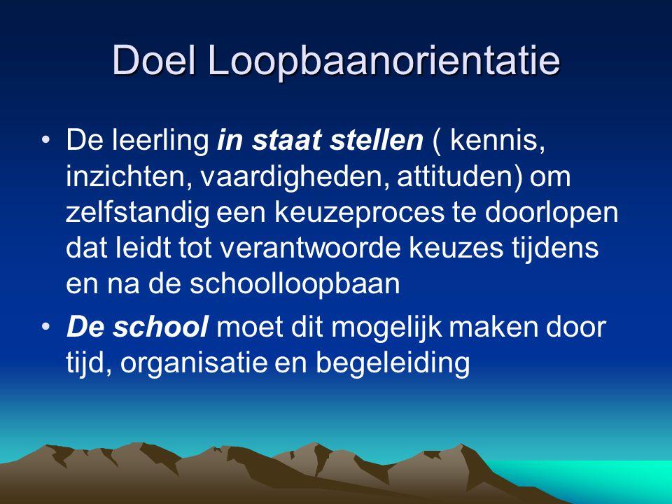 Doel Loopbaanorientatie De leerling in staat stellen ( kennis, inzichten, vaardigheden, attituden) om zelfstandig een keuzeproces te doorlopen dat lei