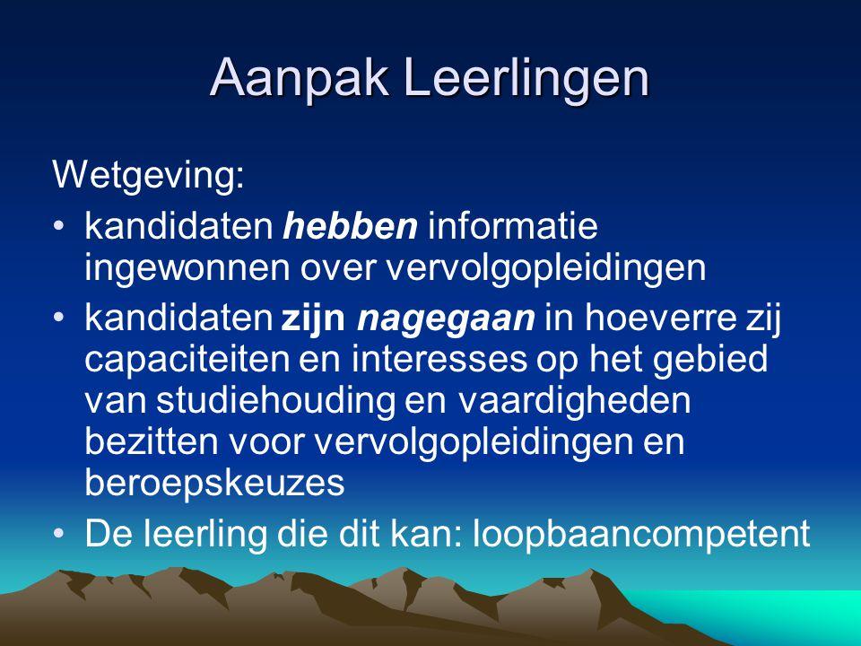 Aanpak Leerlingen Wetgeving: kandidaten hebben informatie ingewonnen over vervolgopleidingen kandidaten zijn nagegaan in hoeverre zij capaciteiten en