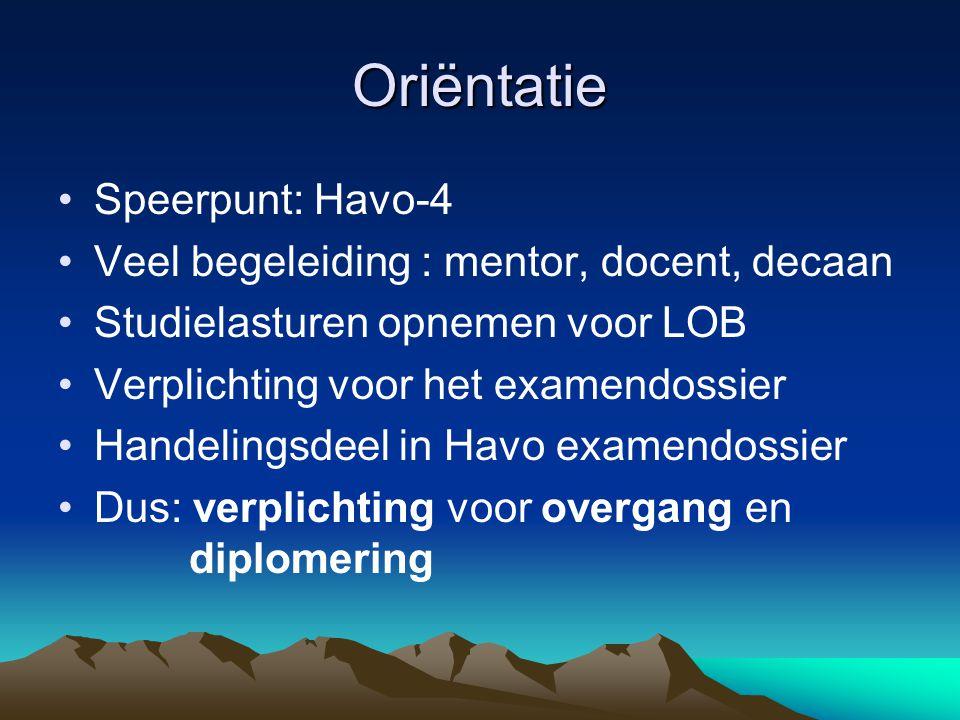 Oriëntatie Speerpunt: Havo-4 Veel begeleiding : mentor, docent, decaan Studielasturen opnemen voor LOB Verplichting voor het examendossier Handelingsd
