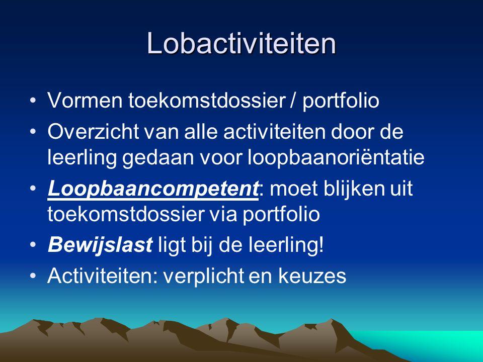 Lobactiviteiten Vormen toekomstdossier / portfolio Overzicht van alle activiteiten door de leerling gedaan voor loopbaanoriëntatie Loopbaancompetent: