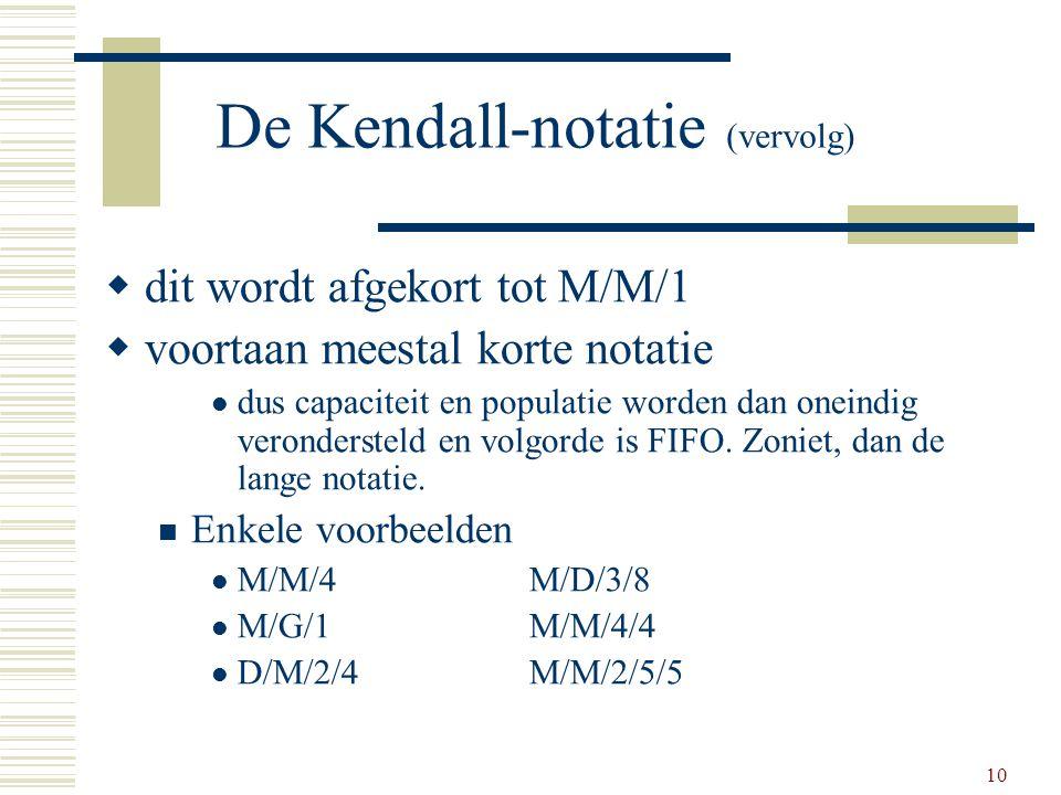 10 De Kendall-notatie (vervolg)  dit wordt afgekort tot M/M/1  voortaan meestal korte notatie dus capaciteit en populatie worden dan oneindig verond