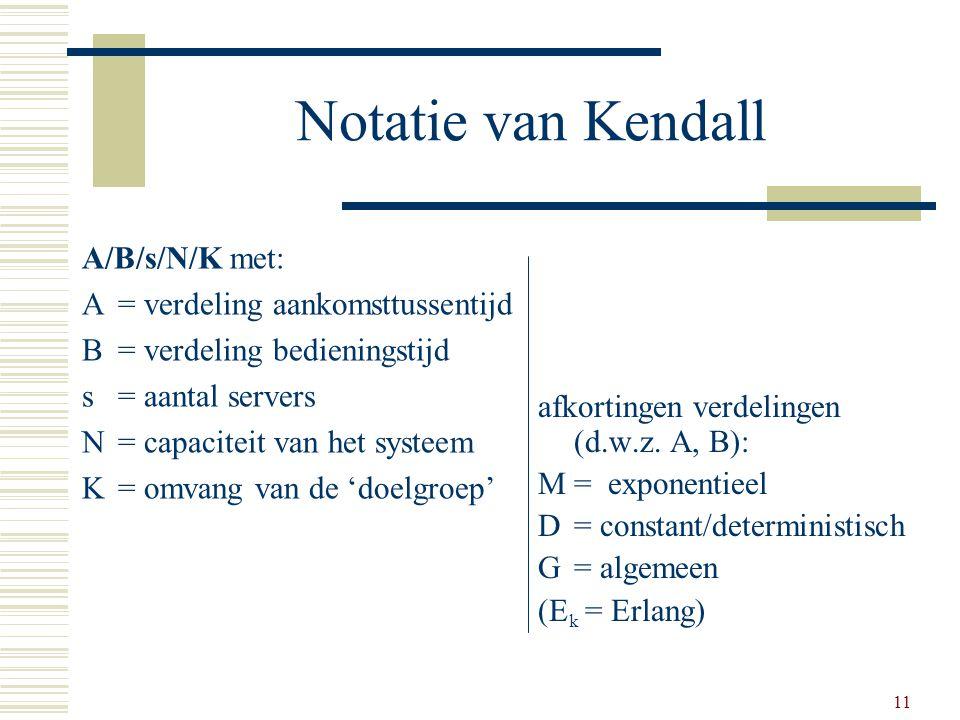 11 Notatie van Kendall A/B/s/N/K met: A= verdeling aankomsttussentijd B= verdeling bedieningstijd s= aantal servers N= capaciteit van het systeem K= o